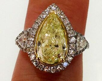 4.00 Ct Carat GIA Fancy Yellow Pear Shape Diamond 3 Stone Engagement Ring 18k