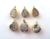 Sale/Set Of 6/White-Gray Druzy Pendants