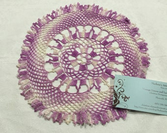 Vintage 10 inch round Purple and White Hand Crochet doily for crafts, shabby chic, housewares, linen, trim, valentines, by MarlenesAttic