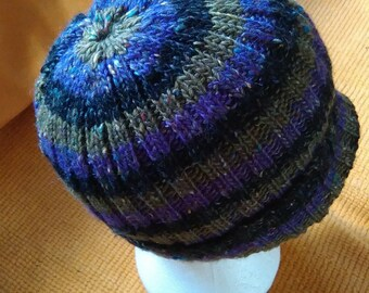 Hand knitted merino donegal tweed and alpaca hat