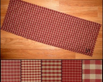 Burgundy Red and TAN Homespun Quilted Table Runner Placemats Plaid Primitive Country Rustic 24, 30, 36, 42, 48, 54, 60, 66, 72 inch