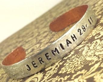 Jeremiah 29:11 Silver and Copper Soldered Bracelet, Scripture Reference Bracelet, Handstamped Inspiring Bracelet by Kyleemae Designs