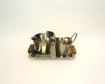 Danish Modern Stainless Sugar and Creamer