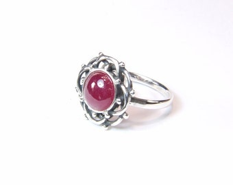 Ruby (8.0mm Natural Ruby), 8.0mm x 2.10 Carat, Rare Cabochon Cut, Sterling Silver Ring