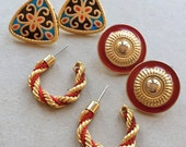80s 90s vintage gold tone metal red and blue enamel pierced earrings--mixed lot of 3 pairs