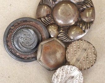 antique vintage heavily oxidized and tarnished decorative silver tone shank buttons--mixed lot of 5