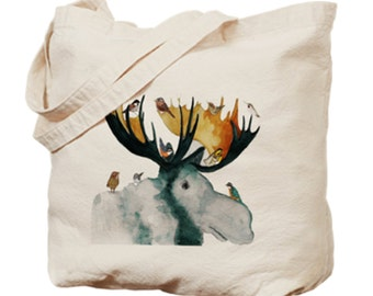MOOSE GIFT~Moose Canvas Tote ~Free Greeting Card included~Moose Lover Gift~Moose Market Bag~Moose with Little Birds