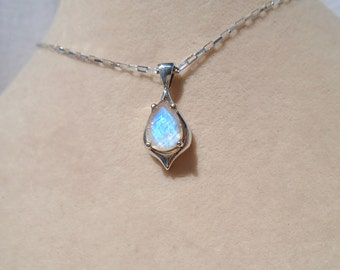 Rainbow Moonstone Pendant with 1.4MM Sterling Silver Long Box Chain 18 Inches