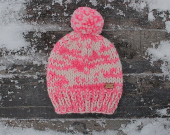 The Cape North Hat - Chunky slouchy knit hat in cream and neon pink