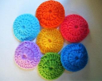 "4"" Pot Scrubbers Scrubbies Nylon Net Set of 7 Assorted Colors Handmade Crochet"