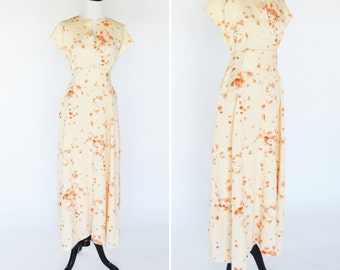 Vintage 1970's Orange Maxi Floral Dress - 70's Casual Short Sleeve Dress With Matching Tie - Summer Dress - ladies size medium to large
