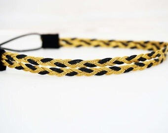 Gold and Navy Double Strand Braided Headband