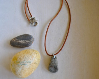 Necklace for men - river stone - natural jewelry - unique necklace - organic
