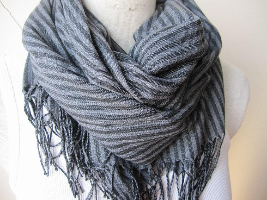 turkey turkish scarf gray grey black stripe cotton