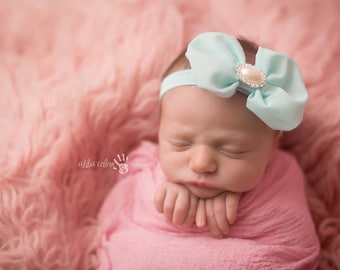 Baby Bow, Infant Bow, Mint Bow- Mint Green Chiffon Baby Bow with Rhinestone pearl center