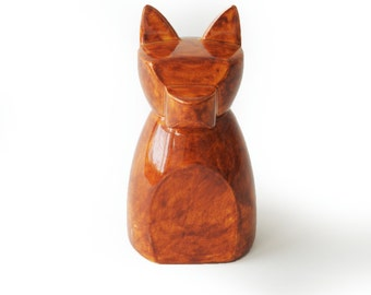 Small Anubis Dog Urn-  Autumn Red
