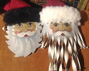 Pair Santa Ornaments, Metal, Handmade, Young, Hand Painted, Face, Artisan Signed, St Nicholas