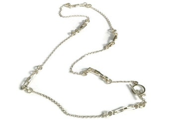 Silver Watch Fob Chain Necklace, Long Silver Chunky Chain  Large Link Edwardian Style Artisan Handmade by Sheri Beryl
