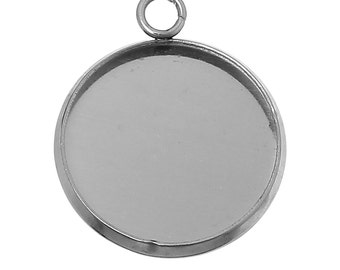 5pc Stainless Steel Silver Tone Round Cabochon Settings- Fits 16mm - 21x18mm- Jewelry Finding Making Supplies, Necklace, Ships from USA -S57