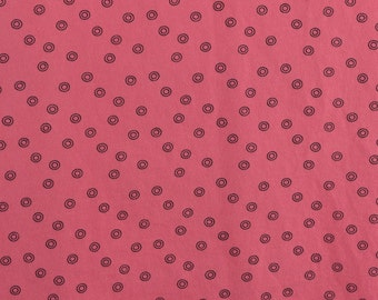 Cotton Knit Fabric, Jersey Knit Fabric Remnant, Watermelon Pink Knit, Circles, Cotton Remnant, Circles, T Shirt Fabric - 2/3 Yard - CKF1620