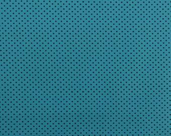 Turquoise Polka Dot Fabric, Turquoise Fabric, Black and Teal, Fabric by the Yard, Fabric Yardage, Dress Fabric - 1 Yard - DF1693