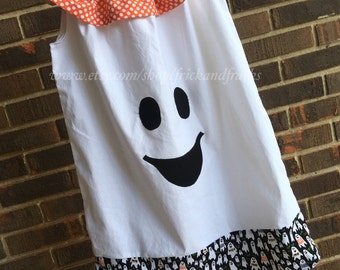 Ruffletop Pillowcase Dress with Ghost Face, Halloween Pillowcase Dress, Ghost Dress, Toddler Halloween Outfit, Baby Halloween Dress,Girl