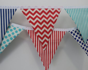 the jack - blue and red, chevron, stripe and spot circus fabric flag banner bunting