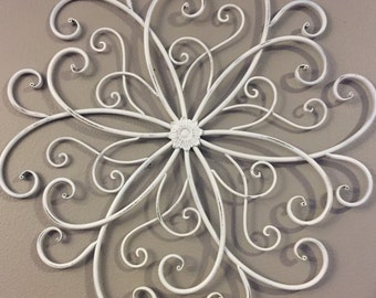 white metal wall hanging large metal wall decor decorative wall hanging white - Large Metal Wall Decor