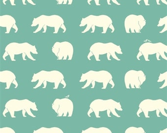 Bear Fabric - Bear Camp Poplin -  Bear Hike Pool -  Quilting fabric - Animal Fabric - Birch Organic Cotton Fabric - Blue Green Fabric