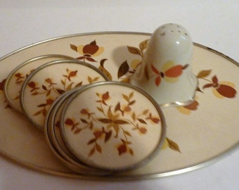 vintage jewel tea autumn leaf oval hot plate, seven coasters and pepper shaker