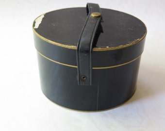 Doll Hat Box Black Snap Oval Case Vintage Dollie Hats Collector Christmas Gift