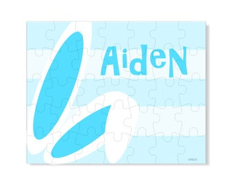 Personalized Puzzle - Blue Bunny Ears - Create your own design Puzzle - Create your your own Picture Puzzle