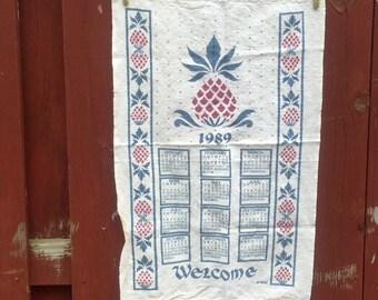 Vintage Linen Tea Towel Welcome Pineapple 1989 Calendar by Kay Dee