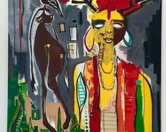 """Original Large Size Patrick Robert Painting, """"Sadhu"""" 55""""x39"""", Green, yellow, Orange"""