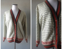 80s Hipster Grandpa Sweater Vintage Red Gray Green Swirl Pattern Womens Size M Medium Oversized Baggy Button Down Cardigan 1980s Boho Hippie