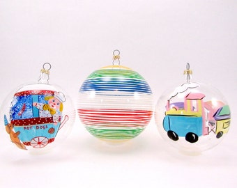 1980s Italian Glass Christmas Ornaments Vintage Christmas Decorations Hand Painted Baubles Clown Train Stripes