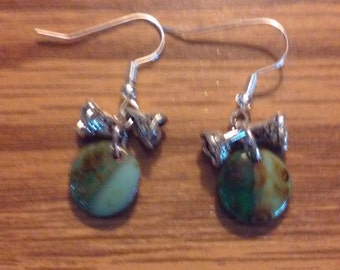 earrings with opaque green picasso and silver cactus flowers