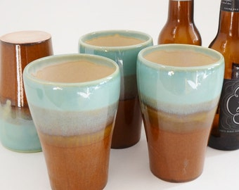 IN STOCK, Ceramic Pint Glass, Stoneware Beer Stein Glass, Pottery Tumbler, Gift Pint Glass, Water Glass