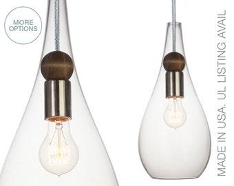 Blown Glass & Wood Drop Pendant Light- MADE IN USA- Petite Nickel