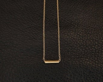 Gold Tube Necklace || Tiny Bar || Gold Filled Chain || Minimalist Jewelry || Brass Bar Necklace || Everyday Wear || Simple || Layering