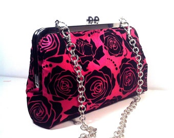 Pink Black Tafetta Purse Clutch Bag 8 X 5 X 2 w/ 20 inches Silver Chain Handle, Black Rose Prints