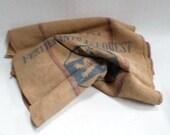 X2 Vintage French Burlap farm Grain Sack Dior marked both side v640