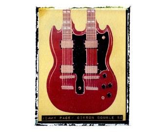 Jimmy Page Led Zeppelin  guitar art print / music gift / rock n roll art / music room decor / guitar gift / man cave art