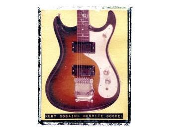 Kurt Cobain Nirvana guitar art print / music gift / rock n roll art / music room decor / guitar gift / man cave art