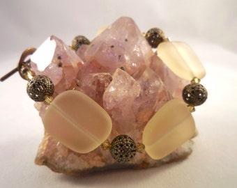 Soft Gold Sea Glass Swarovski Crystal Antiqued Brass Bracelet