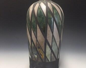 Large Raku Vase - Argyle - Handmade Pottery - Home Decor