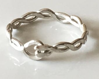 Hammered Braided Sterling Silver Ring - Silver Ring - Stacking Rings - Twisted Silver Ring