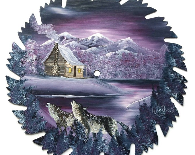 Hand Painted Saw Blade Mauve Mountain Scenery Log Cabin and Howling Wolves