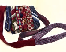 Crossbody Tie Bag // Small Necktie Purse with Maroon and Navy Tones and Navy Button