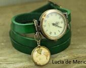 Leather watch, three laps wrist watch, antique style watch, vintage map watch, ladies watch, girls watch, woman watch, antique map watch